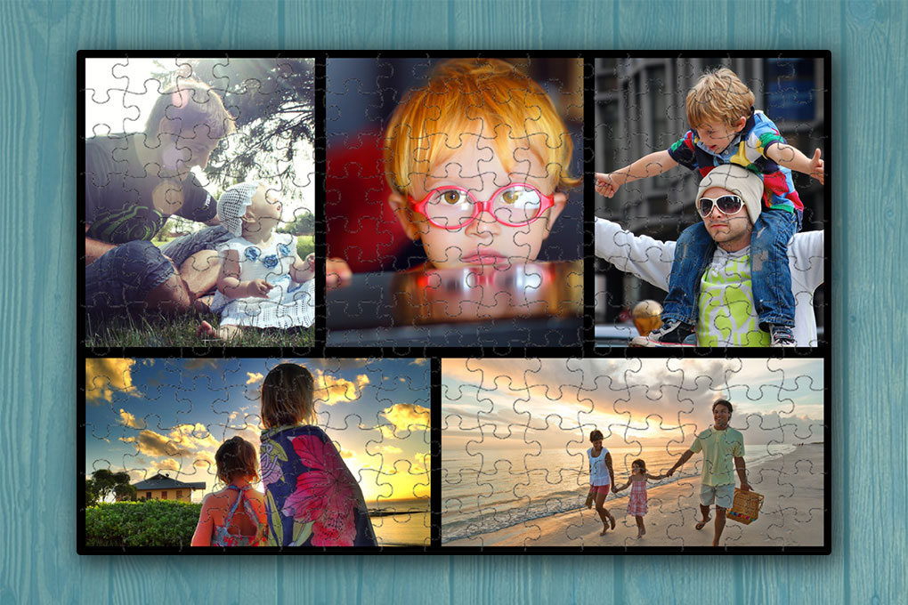 252 darabos karton puzzle montázs 5 db saját fotóval