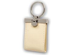 Puha, bõrhatású kulcstartó, 2 képpel (krém színű)